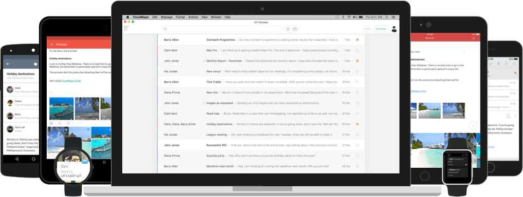 CloudMagic Email works across Mac OS X, iPhone, iPad, Android, Apple Watch and Android Wear